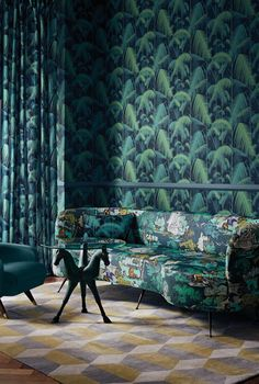 Versailles Grand by Cole & Son - Viridian - Fabric : Wallpaper Direct Jungle Wallpaper, Scenic Wallpaper, Of Wallpaper, Fabric Wallpaper, Wallpaper Designs, Wallpaper Ideas, Nature Wallpaper, Interior Stylist, Interior Design