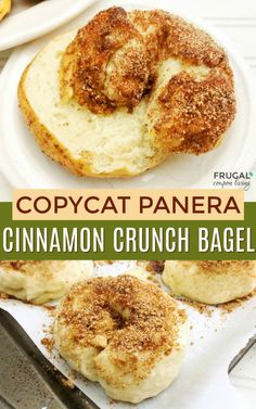Copycat Cinnamon Crunch Bagel, a Panera Bread Inspired Breakfast just like the real thing! More copycat recipes on Frugal Coupon Living. Cinnamon Bagels, Breakfast Bread Recipes, Brunch Recipes, Breakfast Ideas, Brunch Food, Panera Bread Bagel Recipe, Deserts, Restaurant Recipes, Cooking