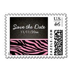 Bubblegum Pink & Black Zebra Stripes Save the Date Stamp #PinkAndBlackObsession