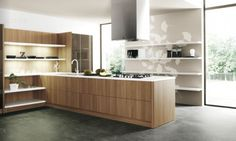 Wood Slab Modern Kitchen Units