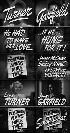 The Postman Always Rings Twice (1946) trailer typography #filmnoir #1940s #noirvember