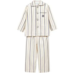 Turquaz Boys Ivory Striped Cotton 'Henley' Pyjamas at Childrensalon.com