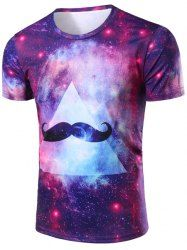 Vogue 3D Colorful Starry Sky Beard Print Round Neck Short Sleeves T-Shirt For Men