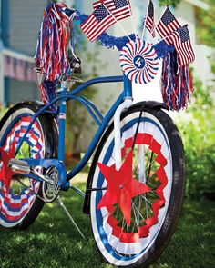 "See the ""Fourth of July Bike Decorations"" in our Patriotic Red, White, and Blue Crafts and Party Decorations gallery 4th Of July Parade, Happy Fourth Of July, 4th Of July Celebration, July 4th, March, Bike Decorations, 4th Of July Decorations, Homemade Decorations, Vintage Decorations"