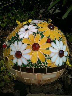 Daisy Mosaic Gazing Ball  Bowling Ball  Marbled by Seedbeadlover, $1,200.00