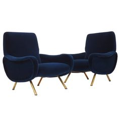 Italian Couple of Lounge Chairs Lady Designed by Marco Zanuso for Arflex Milano | From a unique collection of antique and modern lounge chairs at https://www.1stdibs.com/furniture/seating/lounge-chairs/