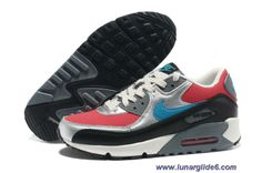 Discounts Nike Air Max 90 Hyper Red Neon Turquoise Anthracite Clear Grey Womens Shoes