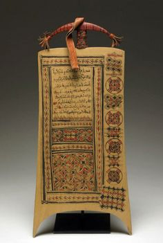 Africa | Writing board from the Hausa people of Nigeria | Wood, leather and paint