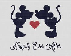 This lovely silhouette of Mickey and Minnie's happily ever after. | 21 Disney Cross Stitch Designs You'll Want In Your Home