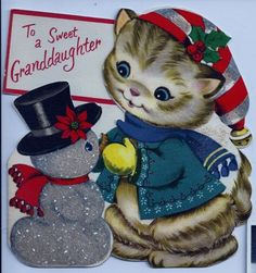 """VINTAGE CHRISTMAS CARD """"GRANDDAUGHTER"""" BY VOLLAND DIE-CUT USED ON THE BACK"""