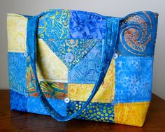 Blue and Yellow Large Quilted Tote Bag by thebeadedpillow on Etsy