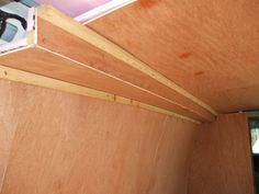 luan plywood and soffit installed in a conversion van RV Cargo Trailer Conversion, Cargo Trailer Camper, Camper Van Conversion Diy, Sprinter Conversion, Airstream Trailers, Travel Trailers, Stealth Camper Van, Stealth Camping, Camping Car