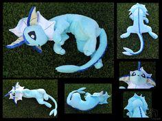 Big Floppy Vaporeon Plush by racingwolf on DeviantArt Sewing Stuffed Animals, Cute Stuffed Animals, Stuffed Animal Patterns, Cute Diys, Cute Crafts, Diy And Crafts, Arts And Crafts, Sewing Toys, Sewing Crafts