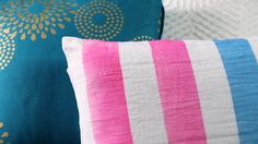 Give a plain pillow a lift with painted on stripes. Watch and see how it's done!