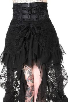 Buckle Black Lace High Waist Skirt by Banned