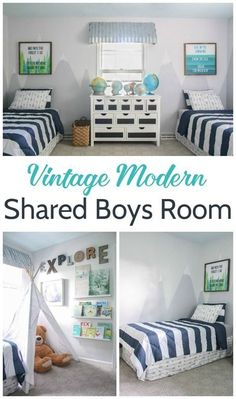 Vintage modern shared boys room, Fun and colorful boys bedroom full of inexpensive decorating ideas and DIY projects