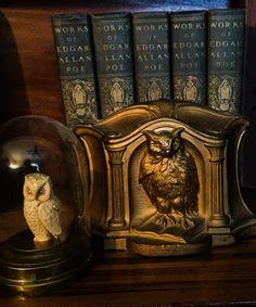 Antique Books Edgar Allan Poe cloche Owl bookends