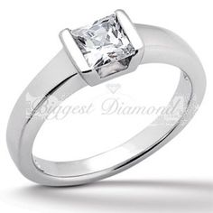 Modern Solution 0.75-2.5 carat Tension Set Princess Cut Solitaire Diamond Engagement Ring