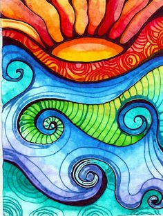 Sun and waves with swirls, cool painting idea.