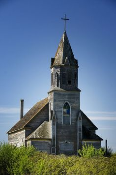 "Beautiful old church in Saskatchewan. They say that if you get close enough you can hear them singing ""Then Sings my Soul - My Savior God To Thee! How great Thou Art. How Great Thou Art!"":"