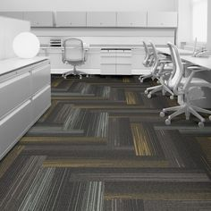 Interface carpet tile: SL930 Color: Grey Fade 7833-006-000 Installation method: Herringbone         Room scene: Open Office