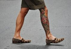 Really Nice Mens Leg #Tattoo With Roses (Cool Shoes Too!)