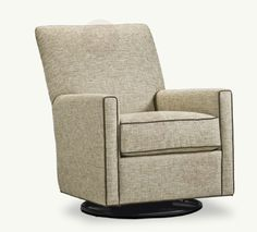Swivels and glides. Relaxed but with a tight back. Put  in the family room to lounge around in, or you can even add her to the nursery, 'cause she just loves helping you rock the baby to sleep. Available in many fabrics and leathers