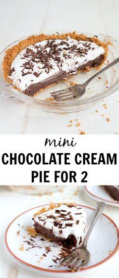 "Mini Chocolate Cream Pie for Two. Made in a small pie pan that measures 6"" across. #pie #chocolate #chocolatecream #minipie #dessertfortwo #smallbatch #smallrecipe #dessert #summerdessert #chocolatecreampie #grahamcracker #grahamcrackercrust via @dessertfortwo"