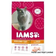 Iams Cat Senior Mature Chicken Flavour Cat Food 700g As your cat matures its needs change Iams Senior Mature cat food contains an optimum level of  animal proteins to help its maintain muscle mass as well as a moderate amount of fat to assist weight management.