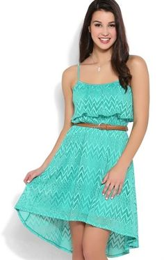 Deb Shops tribal knit crochet spaghetti strap popover braided belt high low $24.67