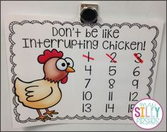 Read along with the Interrupting Chicken book…earn extra recess minutes! Classroom Behavior Management, Classroom Procedures, Classroom Organization, Classroom Ideas, Classroom Incentives, Behaviour Management, Class Management, Classroom Discipline, Behavior Plans