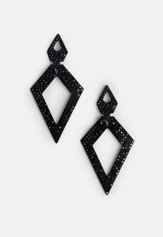 Missguided - Black Diamond Cut Out Drop Earrings
