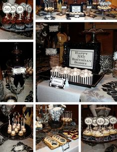 White And Black 50th Birthday Themes Seven Images Showing Bisquits Candies Cupcakes In