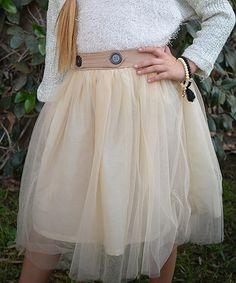 Look what I found on #zulily! Ivory Sheer Overlay Skirt - Toddler & Girls #zulilyfinds