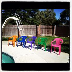 Because white chairs are boring :) Lawn Chairs, White Chairs, Spray Painting, Repurposed, Organizing, New Homes, Backyard, Doors, Crafty