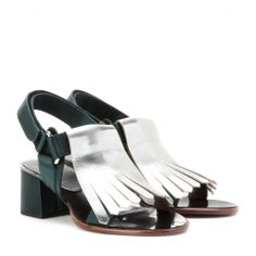 mytheresa.com - Sandali in satin con frange - Tacco medio - Sandali - scarpe - Luxury Fashion for Women / Designer clothing, shoes, bags
