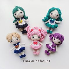 Ravelry: Sailor Outer Senshi Amigurumi pattern by Pigami Crochet Sailor Chibi Moon, Sailor Neptune, Sailor Uranus, Amigurumi Patterns, Crochet Patterns, Winter Princess, Make Your Own, Make It Yourself, Crochet Hats