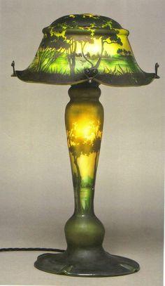 RARE DAUM NANCY LANDSCAPE CAMEO ORIGINAL TABLE LAMP