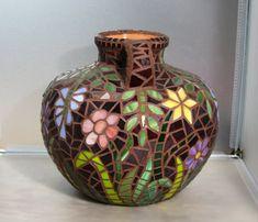 Flowers at Midnight Glass Mosaic Vase by cottagebreezeglass