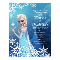Frozen Elsa Birthday Invitation - Personalized Invitations featuring her favorite character from Disney's Frozen movie. If you're planning a Frozen birthday party for the snow queen in your life, she'll love inviting her friends with these invites. Elsa Birthday Invitations, Frozen Invitations, Frozen Themed Birthday Party, Disney Frozen Birthday, Frozen Disney, Frozen Birthday Party, Girl Birthday, Frozen Frozen, Frozen Movie
