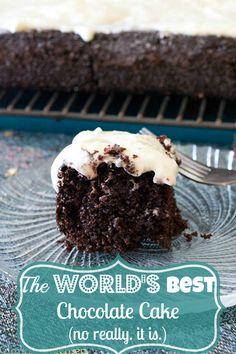 The best chocolate cake recipe ever topped with homemade, cream cheese frosting…