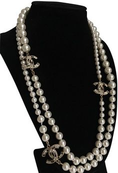 8d35ac08b4d53 Chanel CHANEL Pearl Crystal CC Long Necklace Gold   My Selling ...