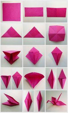 DIY – origami cranes as a wedding decoration DIY – Origami Kraniche als Hochzeitsdekoration Design Origami, Origami Simple, Instruções Origami, Origami Star Box, Origami Rose, Origami Dragon, Useful Origami, Paper Crafts Origami, Origami Flowers