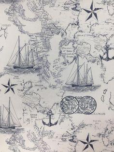 Nautical Map Fabric Navy Nautical Map Fabric Fabric by the image 2 Nautical Quilt, Nautical Chart, Nautical Theme, Nautical Office, Map Fabric, Quilting Fabric, Vintage Nautical Tattoo, Nautical Tattoos, Boat Wallpaper