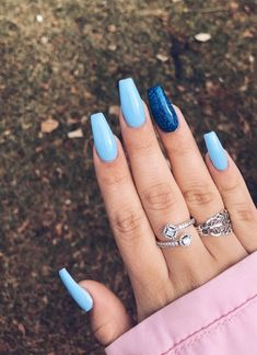 How to Live with Acrylic Nails - 15 Beautiful Acrylic Nail Designs - Her Style Code - Light blue coffin acrylic nails - Coffin Nails Kylie Jenner, Blue Coffin Nails, Coffin Acrylics, Blue Gel Nails, Pastel Blue Nails, Kylie Jenner Nails, Colorful Nails, Glitter Gel Nails, Colorful Nail Designs
