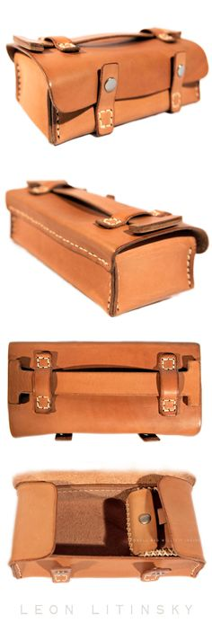 Necessity Leather Bag with Small Jewelry Bag Inside.  By Leon Litinsky.