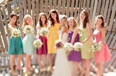 multicolored bridesmaids dresses - photo by Leaf and Petal