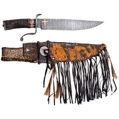 Betteridge Collection Large Elk Stag Camp Bowie Knife with Sheath