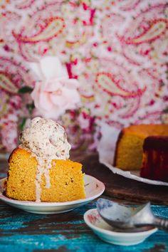 Spiced orange cake with rum raisin ice cream