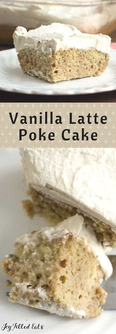 Vanilla Latte Poke Cake - Low Carb, Grain Gluten & Sugar Free, THM S - This rich and moist Vanilla Latte Poke Cake has a creamy coffee soaked base topped with whipped cream lightly flavored with coffee and vanilla. via @joyfilledeats